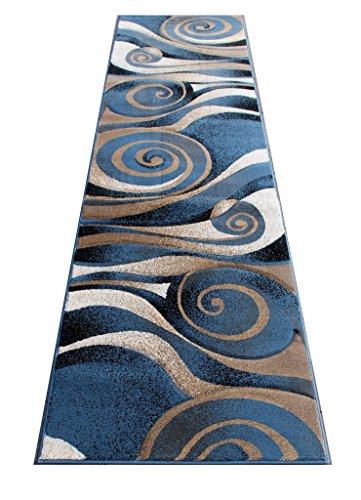 Modern Area Rug Design Sculpture 258 Blue (32 Inch X 10 Feet) Runner by Sculpture