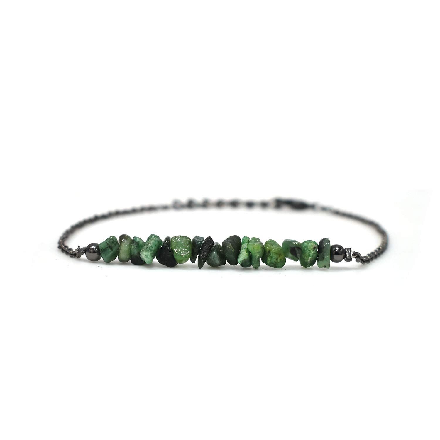 Natural Emerald Chips Bracelet Birthday Gift for Her Energy Healing Crystals Gemstone Jewelry 8 inch AAA+ Quality