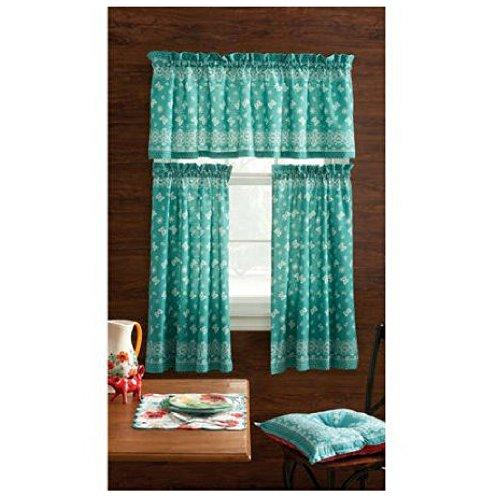 Pioneer Woman Kitchen Curtain and Valance 3pc Set (30X36, Bandana Teal)