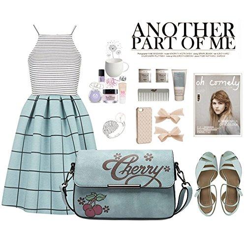 Yoome estilo de impresión de estilo de impresión bolsa de cuero para las niñas de la escuela Teen Strap Bolsas para las mujeres - Rosa Rosado