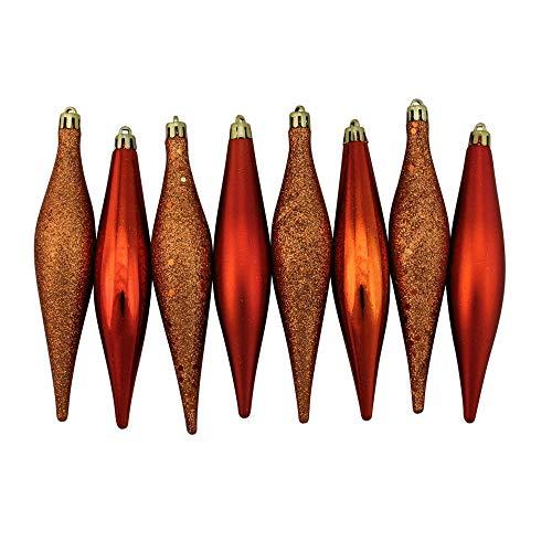 Finial 4 Finish - Northlight 8 Count Burnt Orange Shatterproof 4-Finish Finial Drop Christmas Ornaments, 6