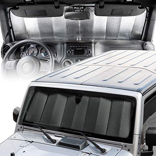 "BDK Custom Fit Windshield Sun Shade for Jeep Wrangler - Exact Fit Fordable Accordion UV Protection Fits 1987-2019 JK, JL, CJ, YJ,& TJ 53"" x 16.5"""