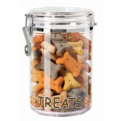 Cannister Dog - Oggi 8311 Acrylic Airtight 51-Ounce Pet Treat Canister with Treats and Paws Motif -Food Storage Container