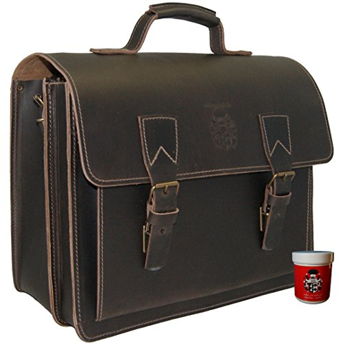 BARON of MALTZAHN Briefcase - Business bag KOPERNICUS brown leather - leather care included