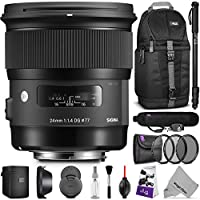 Sigma 24mm F1.4 ART DG HSM Lens for NIKON DSLR Cameras w/ Essential Accessory Bundle