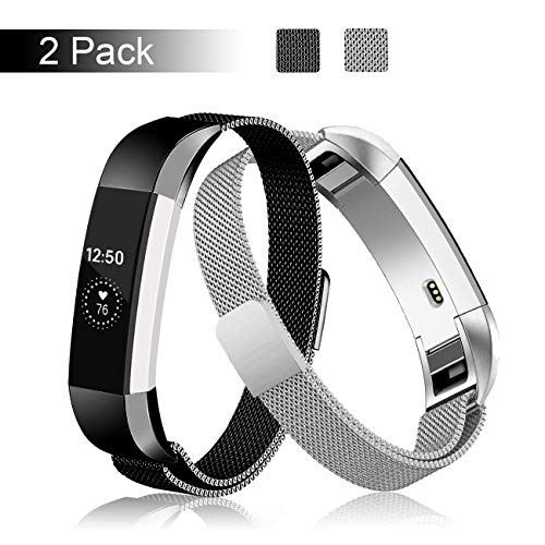 Fundro Compatible Fitbit Alta HR and Alta Bands (2 Pack), Stainless Steel Metal Milanese Bracelet Strap Replacement Wristband Magnetic Lock for Fitbit Alta Women Men (2-Pack Black+Silver, Large)