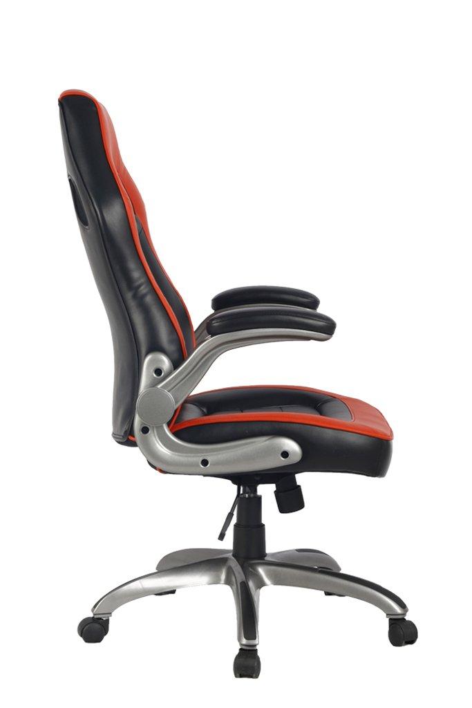 VIVA OFFICE Silla ergonómica con respaldo alto, multicolor, de cuero natural regenerado, con estilo de coche de carreras, con apoyabrazos acolchados y ...