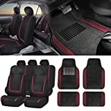 FH GROUP FH-FB032115 Unique Flat Cloth Seat Covers with F14407 Premium Carpet Floor Mats
