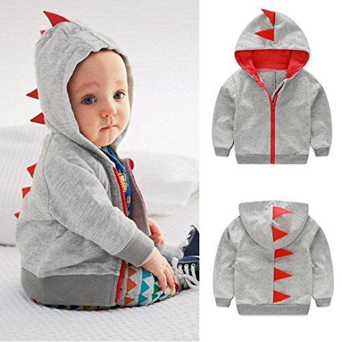 Sunbona Clearance Sale Toddler Baby Boys Cute Autumn Outerwear Jacket Dinosaur Hooded Zipper Coat Clothes