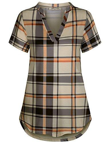 ses for Work Short Sleeve Shirts V Neck Tunic Tops for Leggings Cozy Shirttail Hem Jersey Plaid Casual Shirt Grey and Beige XXLarge (Shirttail Hem)