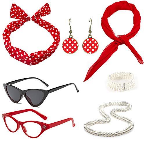 50's Costume Accessories Set Chiffon Scarf Cat Eye Glasses Bandana Tie Headband and Earrings (OneSize, Red2)]()