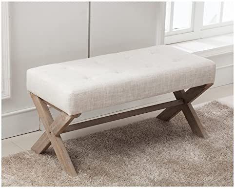 Remarkable Fabric Upholstered Entryway Bench Seat 36 Inch Bedroom Bench Seat With X Shaped Wood Legs For Living Room Foyer Or Hallway By Chairus Light Beige Andrewgaddart Wooden Chair Designs For Living Room Andrewgaddartcom