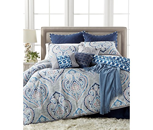 New Kelly Ripa Queen Size 10 Pc Bedding Comforter Set Gray Blue Paisley Weston