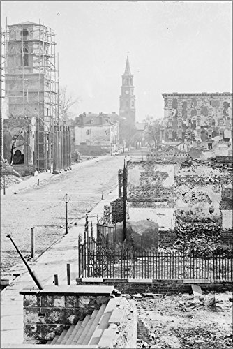 24x36 Poster; Charleston, S.C. View Of Meeting Street, Looking South Toward The Circular Church And St. Michael'S Church - Street Charleston Sc Church