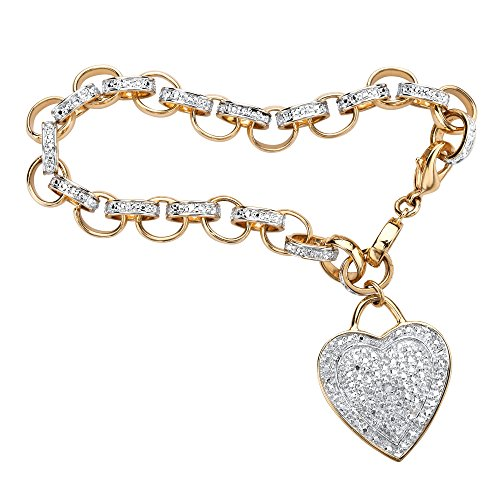 (Palm Beach Jewelry White Diamond Accent 18k Yellow Gold-Plated Heart Charm Rolo-Link Bracelet 7.75