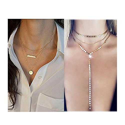 Layer Necklace Set - Mintrayor 2 Pcs Layered Coin Bar Pendant Necklace Set Gold Disc Y Chain Choker Necklace for Women Girls