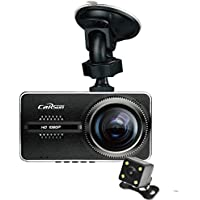 Carsun V3 Car Dual-Lens Ultrathin 4 Screen Dash Cam,Novatek NT96655, 170°+ 110°Angle, front&rear recording, WDR Super Night Vision, Full HD 1080P, G-sensor, Parking Guard ,Dash Cam Front And Rear