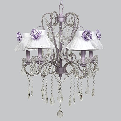 Jubilee Collection 76004-2770-MG3002 5 Light Whimsical Lavender Chandelier with White Sheer Shade and Lavender Rose Magnet
