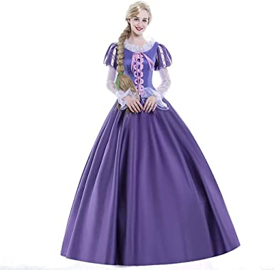 Amazon Com Icos Women Girl Deluxe Princess Party Dress Costume Halloween Long Purle Palace Ball Gown Outfit Suits Adult Clothing
