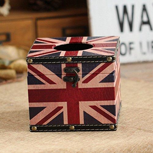YJBear UK Style Vinatge Wooden Tissue Box Cover Storage Box Jewel Box Suitcase for Home Decoration 5.5
