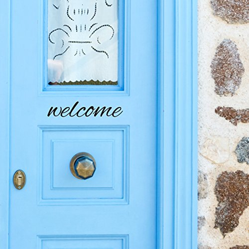 Black Welcome Front Door Vinyl Decal Script Handwriting Wall Art Decor Sticker Lettering Removable - Alexandra Script