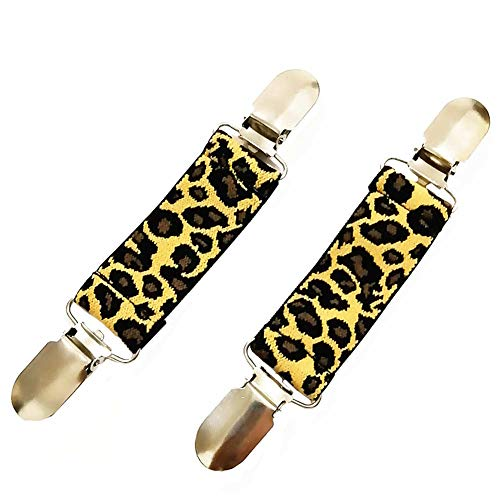 Ever Cute 2PC USA Flag Leopard Print Sweater Cardigan Clips Guard Elastic Dress Clothes Waist Cinch Clip Kids Mittens Clip-Leopard