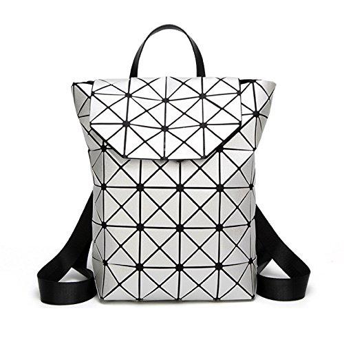 Frauen Rucksäcke geometrische Schultasche für Mädchen Jugendliche multifunktionale Travel Rucksack Damen leuchtende Umhängetaschen Grau Silver tcgQjq