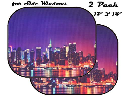 MSD Car Sun Shade for Side Window - UV Protector for Baby and Pet - Block Sunlight - Image of City Architecture Cityscape Urban Night Travel Skyline Building Office Skyscraper Modern Light Business