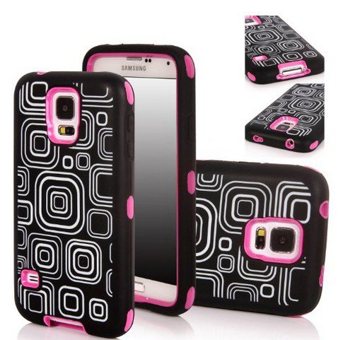 Incore Creative Samsung Galaxy S5 SV i9600 G900 Luxury Printed Hard Soft High Impact Hybrid Armor Defender Combo Case (abstract Square Hot Pink) with 1 Screen Protector, 1 TM Wristband and 1 Microfiber Sticker Digital Cleaner