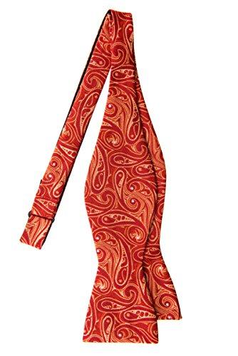 Microfiber Retreez Pattern Tie Elegant Art Self Paisley Red Tie Woven Bow xpxZwr