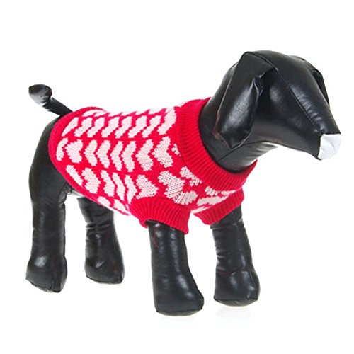 Image of PanDaDa Puppy Dog Little Heart Pattern Knit Sweater Coat Jumper Jacket (S(Tag:M), Red)