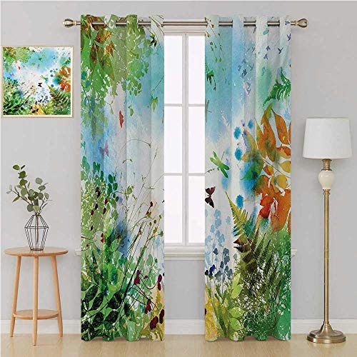 Benmo House Dragonfly Grommet Curtain Grommet Patio Door Curtain Panel,Ferns Petals Flourishing Nature Fantasy Complex Mixed Digital Watercolors Image Room Decor for Boys 108 by 84 Inch Multicolor