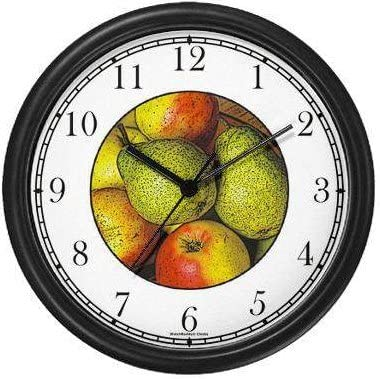 Still Life Pears JP6 Wall Clock by WatchBuddy Timepieces Black Frame