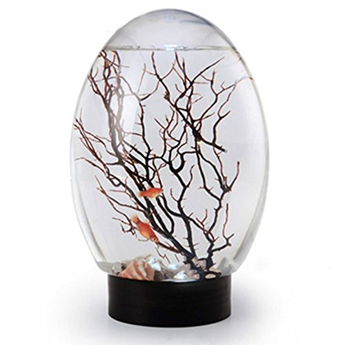 Home Decor Fish Bowl, Cool Fashion Desk Decor, Enclosed Mini Fish Tank with LED Light(Black)