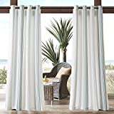 N&T 1 Piece Grey Cabana Stripes Gazebo Curtain Panel 95 inch, White Coastal Print Outdoor Curtain Light Filtering for Patio Porch, Water Resistant Outdoor Drapes Sunroom Grommet, Polyester