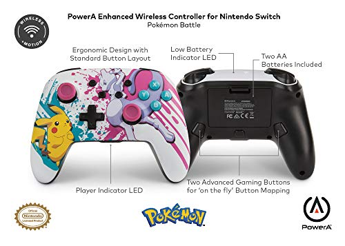 PowerA Enhanced Wireless Controller for Nintendo Switch - Pokemon Battle