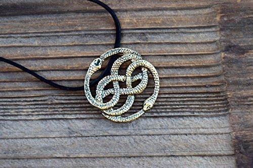 NeverEnding Story Antique Bronze Necklace, Auryn Necklace, Leather, Choker Option, Never Ending Story Snake Pendant, Snake Circle, Men