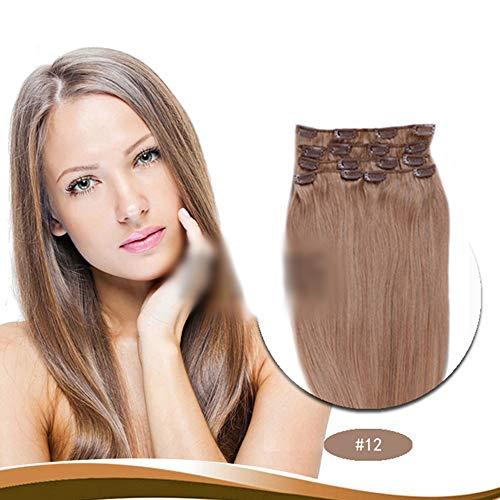Amandana In Full Head #12 Ash Brown Color(7 Pcs,20 Inch,90g) Hair Extensions 100% Human Hair Clip (Color : #12) ()