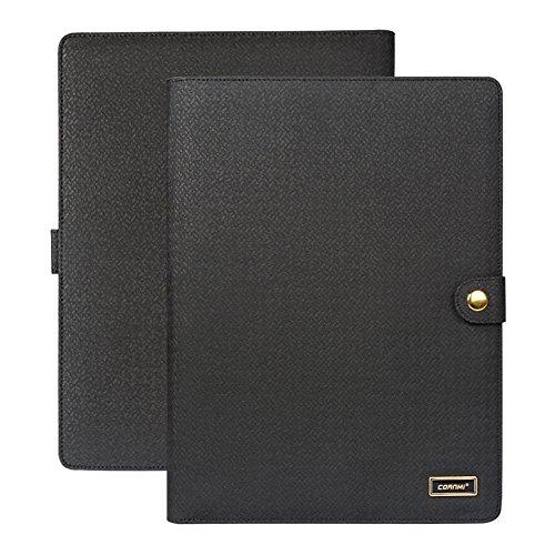 CORNMI PU Leather File Folders with 5 Card Slots & Phone/iPad Pockets+ Transparent Frame -4 Ring Presentation Office Organizer,Professional Documents Binder Case (Business Portfolio Padfolio - Black)