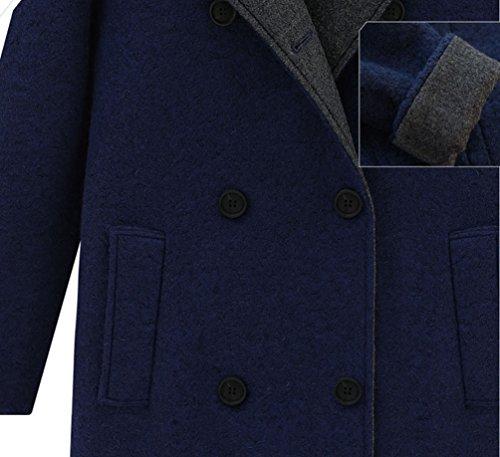 Grande Taille Fonc Femme Capuche Blouson Veste Bleu Manteau Longues Manches YOUJIA Boutonnage avec Trench Hiver Double wqXxYYBZ