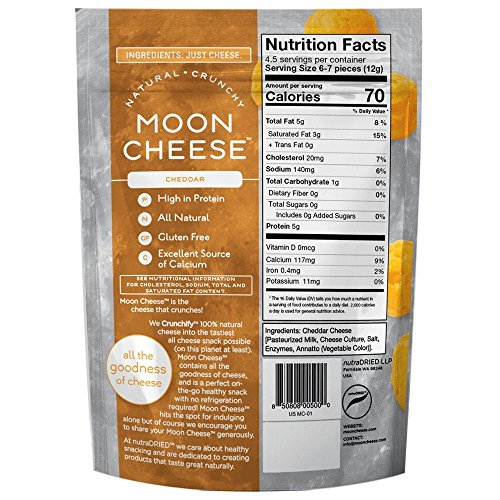 Moon Cheese, Pack of Twelve, Assortment (Cheddar, Gouda, Pepperjack, Mozzarella), 100% Cheese and Gluten Free, 2 OZ Bags by Moon Cheese (Image #3)