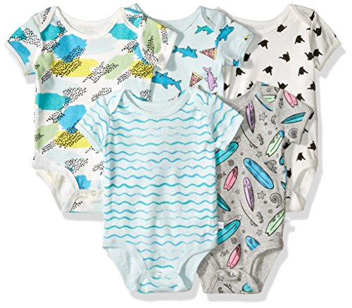 Rosie Pope Boys' Bodysuits 5 Pack, Pizza/Sharks, 0-3 Months