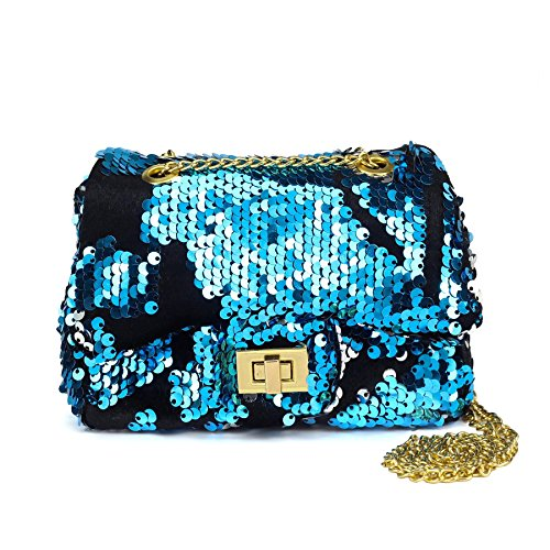 CMK Trendy Kids Glitter Toddler Purse for Girls Sparkly Quilted Little Girl Purses (80001_Sequin Blue)
