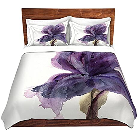 Duvet Cover Brushed Twill Twin Queen King SETs DiaNoche Designs Dawn Derman Purple Iris