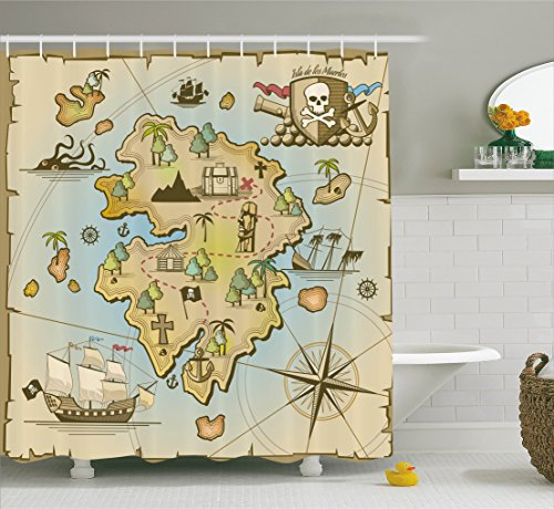 treasure map shower curtain - 2