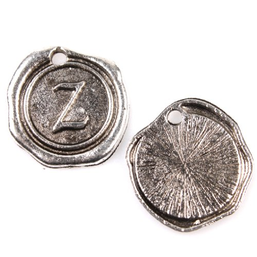 24x Charms Round Tag Carved Letter Z Antique Silver Alloy Handmade Findings