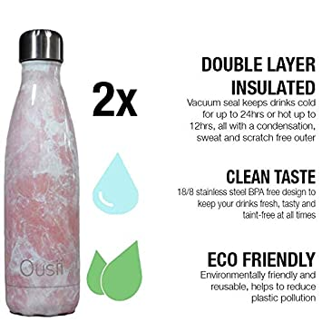 Ousii Bottles Double Walled Vacuum Insulated Leak-Proof Hot for 12 Hrs BPA-Free Stainless Steel No Sweating 500ml Reusable Water Bottle Keeps Cold for 24+ Hrs