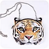 HOT SEAL Womens Girls Funny Tiger Head Cute Lifelike Animals 3d Printed Shoulder Handbag Purse Bags Gift (Tiger)