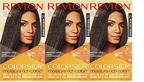 (Revlon Colorsilk Moisture Rich Hair Color, Natural Black No.21, 3 Count)