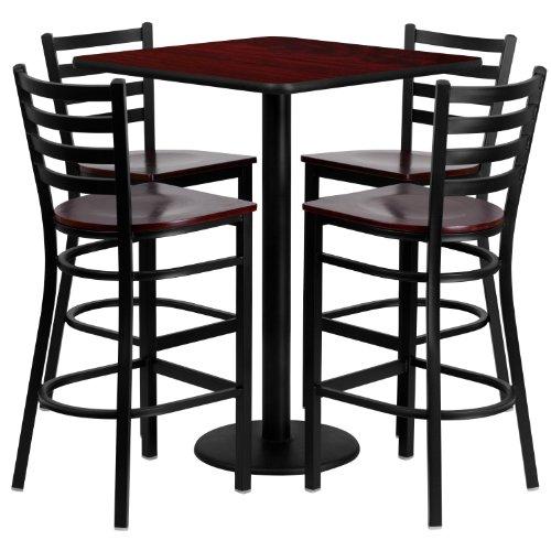 (Flash Furniture 30'' Square Mahogany Laminate Table Set with 4 Ladder Back Metal Barstools - Mahogany Wood Seat )